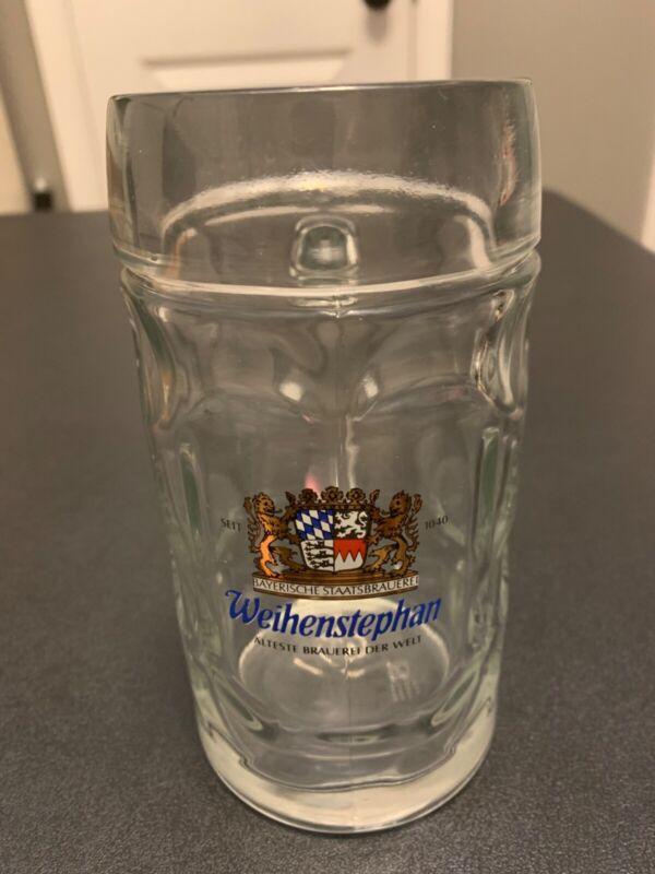 WEIHENSTEPHAN MUNCHEN 1 Liter Dimpled German Beer Mug Glass