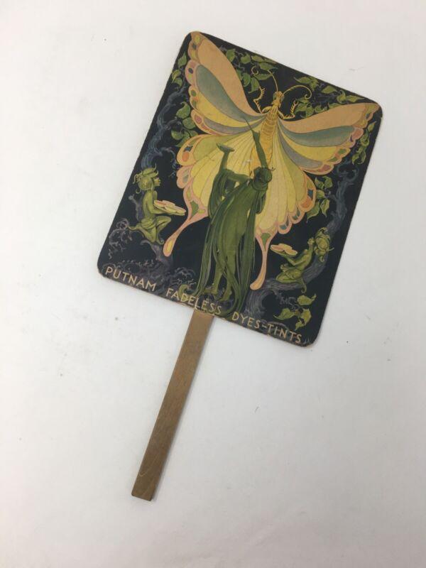 Putnam Fadeless Dyes Tints fan advertiser Butterfly/fantasy/Wharton, ARK. 1920