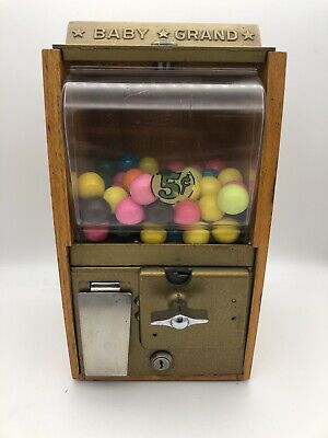 1950's Victor Baby Grand Gumball Vending Machine 5 Cent Small Gumball With Keys