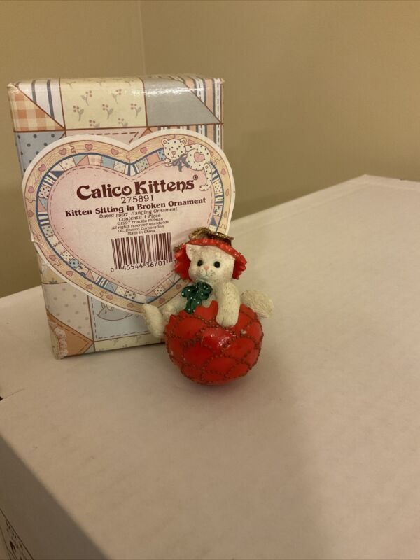 "Calico Kittens ""Kitten Sitting In Broken Ornament"" Hanging Ornament Dated 1997"