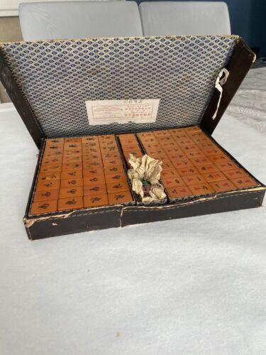 Antique Butterscotch and Green Bakelite Mahjong Set in Original Case.