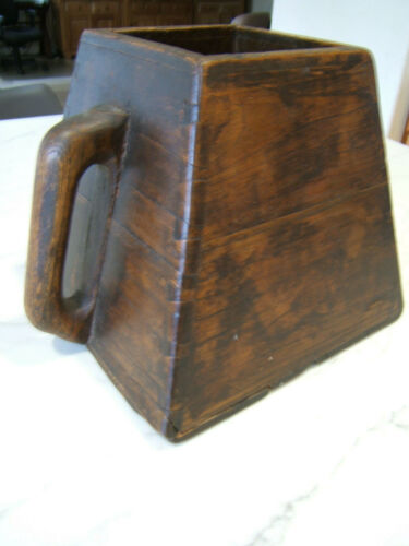 """Antique Vintage Square Chinese Wood Rice Bucket w/ Handle Dovetail 9 x 10"""""""
