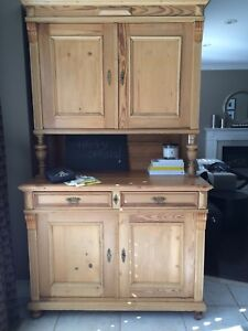 Reclaimed Wood Antique Pine Buffet & Hutch from Early 1900's
