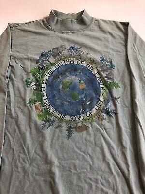 Vintage 90s Alore Women's L/S Mock Turtleneck Sz M T Shirt Rhythm of the Earth covid 19 (L/s Mock Turtleneck coronavirus)