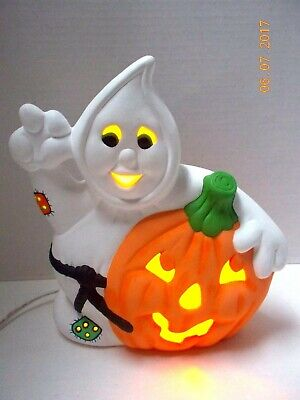 Vtg. 1970's Halloween LIGHTED GHOST DECORATION & JACK O LANTERN PUMPKIN Ceramic