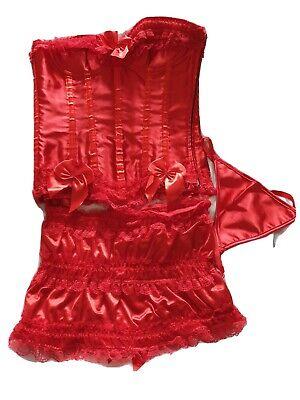 Ladies Sexy Corset Basque Burlesque Fancy Rouge set sz M
