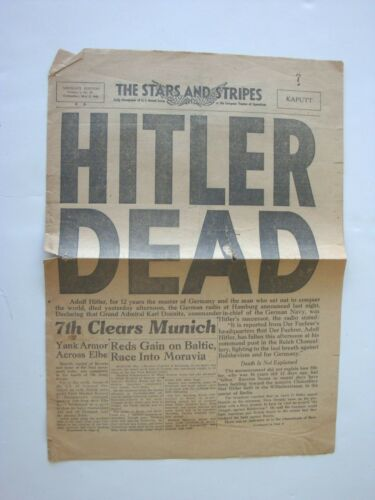 5/2 1945 HITLER DEAD Germany Edition Stars And Stripes Original Newspaper
