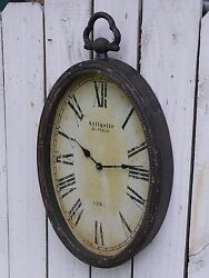 Large metal wall clock ANTIQUITE de PARIS distressed french country home decor