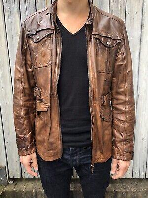 Men's AUTHENTIC HUGO BOSS coat Brown tan Leather Jacket M