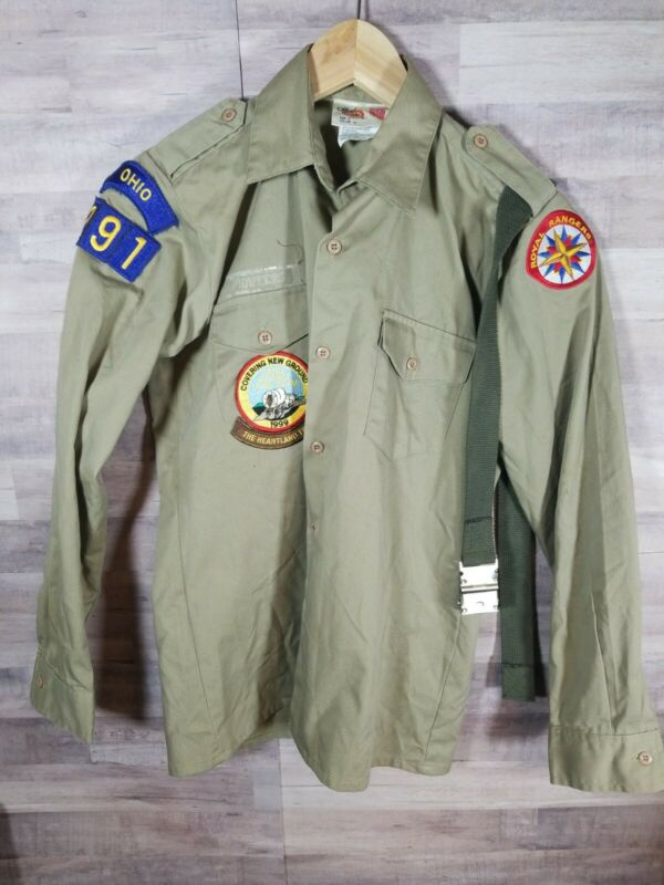 1999 Royal Rangers Ohio Tan Official Shirt Size 14 Uniform Patches and Belt 1A