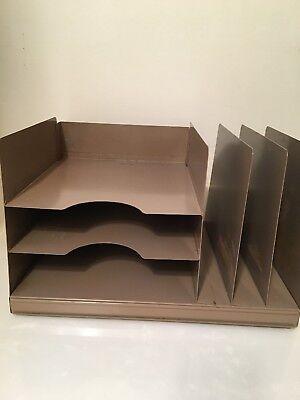 Vintage Industrial Brown Metal Desk 3-tier Paper Organizer Mail Sorter Lit-ning
