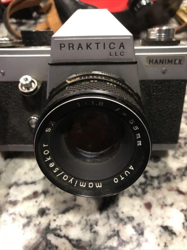 Vintage!! PENTACON PRAKTICA LLC 35MM CAMERA With Protective Case East Germany