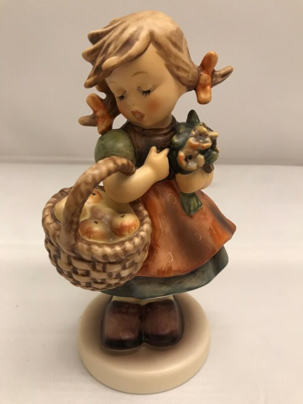 "Hummel 355 Autumn Harvest TMK7 Girl With Flowers And Basket Of Apples 5"" Tall"