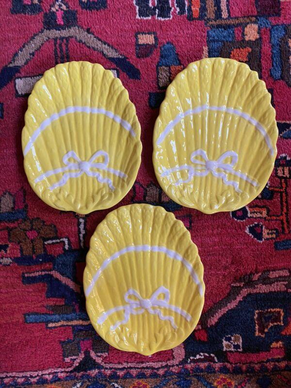Vintage Asparagus Ribbon Bow Plates Yellow (3) Grandmillennial Hollywood Regency