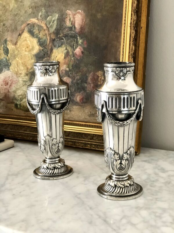 CHRISTOFLE GALLIA ANTIQUE SILVEER PLATED PAIR OF VASES