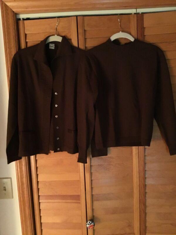 Vintage Luisa Spagnoli Merino Wool Sweater Set in brown, sz Small