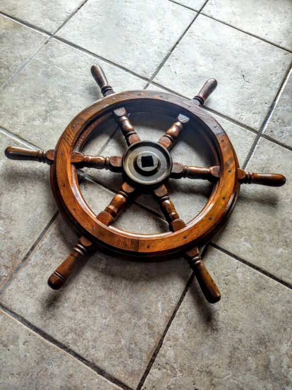 "Authentic Nautical Wooden Brass 6 Spoke Ship Boat Steering Wheel ""Square Notch"""