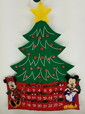 Disney Mickey Minnie Mouse Advent Calendar Christmas Tree felt Vintage complete