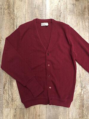 80s Sweatshirts, Sweaters, Vests | Women vintage 1980's mens Medium bugundy Idlebrook Cardigan sweater $29.90 AT vintagedancer.com