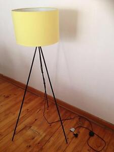 Modern floor lamp with black frame and yellow shade Glynde Norwood Area Preview
