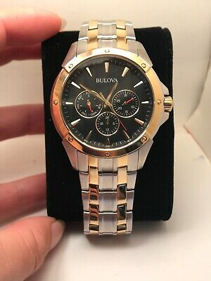 Bulova 98C120 Two Tone Stainless Steel Balck Dial 30m Men's Watch-R4