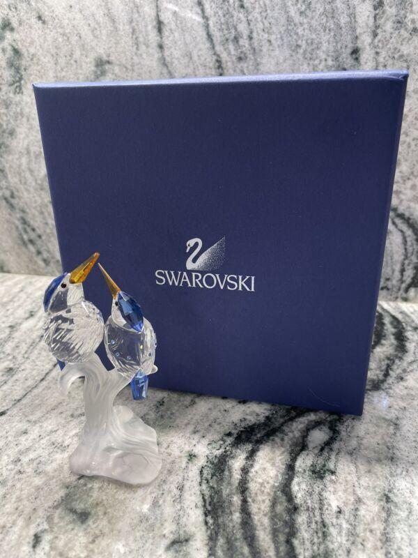 Swarovski Crystal MALACHITE KINGFISHERS Bird Figurine 623323 NIB 7621 000 010