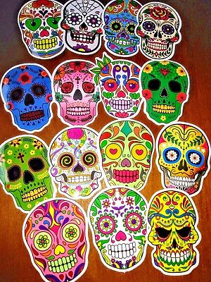Set Of 50 !!! Sugar Skull, Stickers, Decals, Vinyl, 2x2, Halloween, Day Of Dead