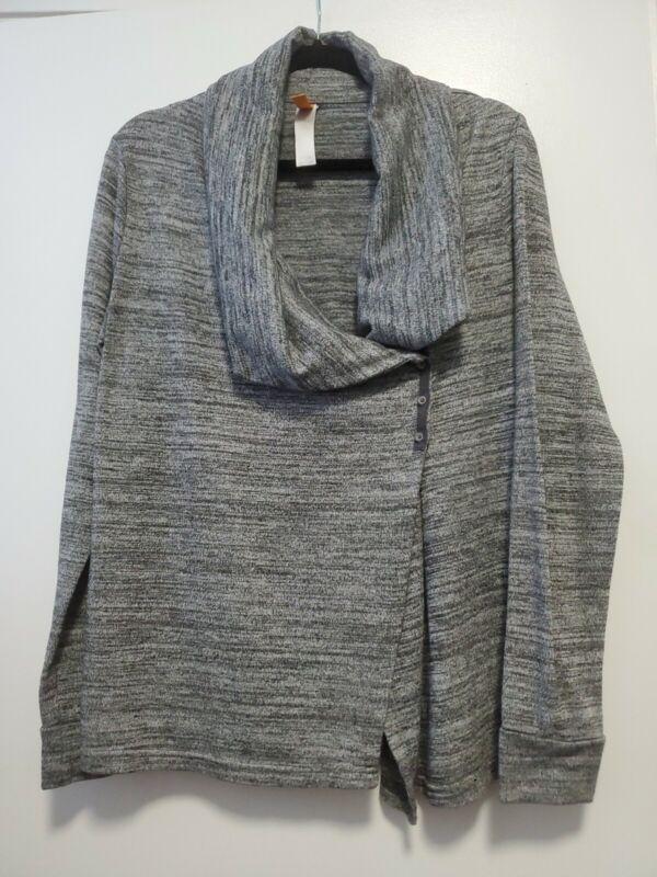 Lucy Activewear Cardigan Jacket Long Sleeve Large Gray