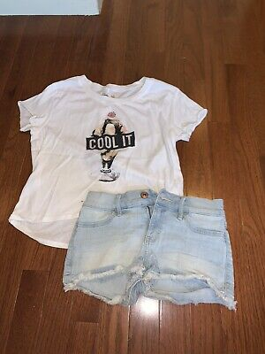 ABERCROMBIE KIDS GIRLS OUTFIT - T-SHIRT TOP & JEAN SHORTS - SIZE 9 10