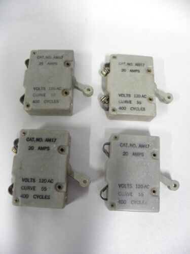 """Lot of """"4"""" Heinemann Electric Cat. No. AM17 20 & 25 Amp Circuit Breakers (A8)"""