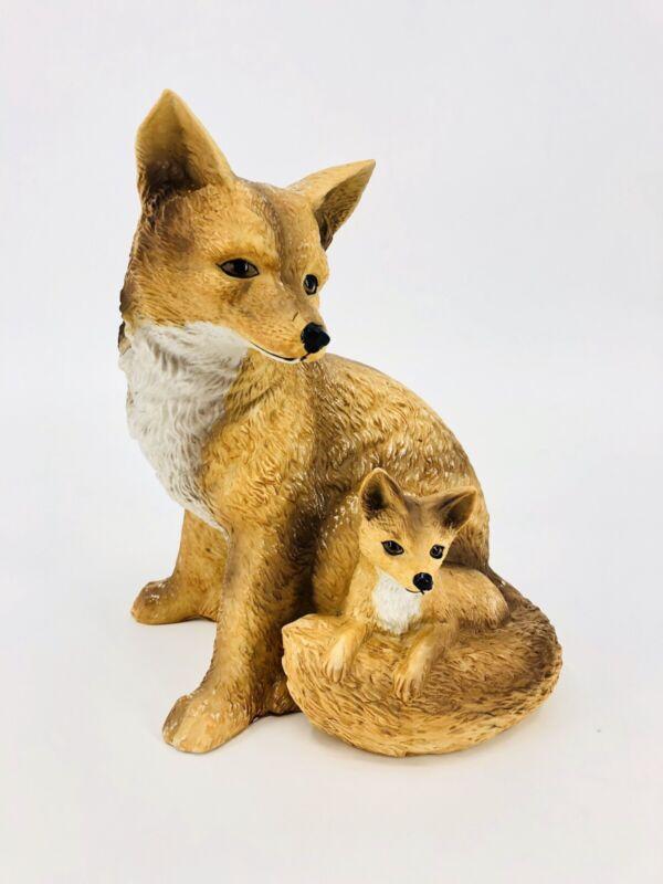 Fox and Cub  Porcelain Ceramic Figurine Statue Vintage