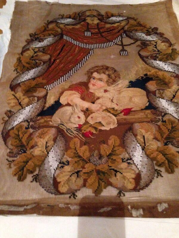 Gorgeous Antique Victorian Beadwork Beaded Needlepoint Panel