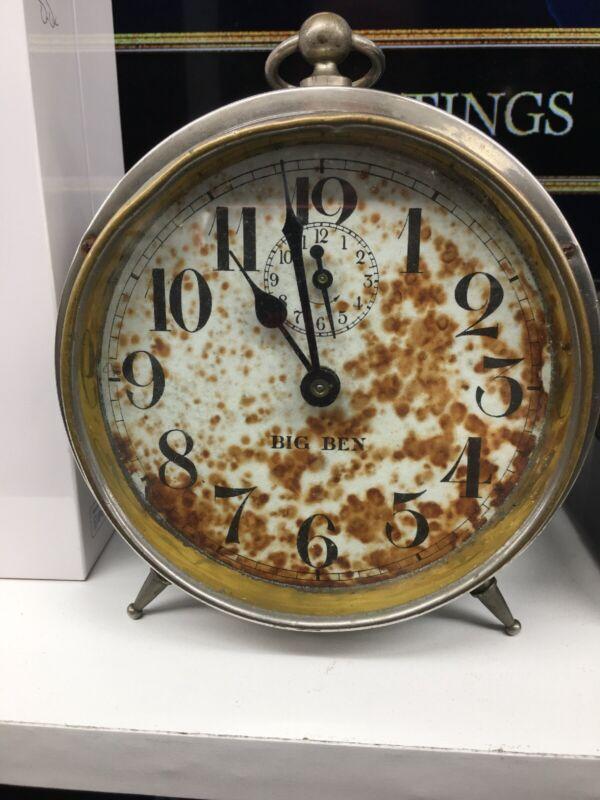 Antique Chrome Westclox Big Ben  Peg-Leg Alarm Clock 1910 Works