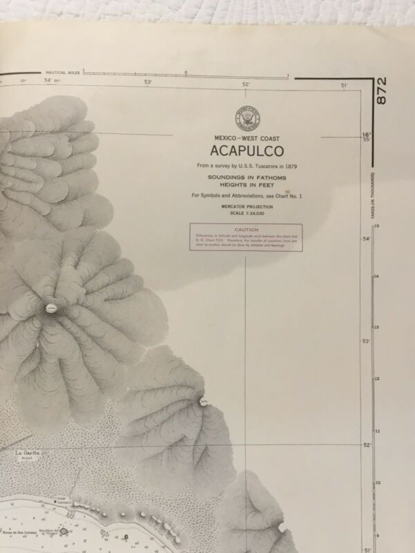 Vintage Nautical chart #872 Acapulco 17th Ed., 1941
