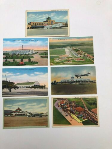 Lot of (7) vintage linen postcards. Various Airports in USA. Old DC prop planes