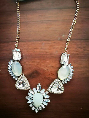 New Design colourful White Pendent Bib Chunky Statement crystal Necklace q1036