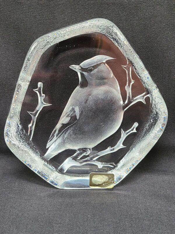 "Mats Jonasson Crystal Cardinal Paperweight Sculpture Signed 5""X5"""