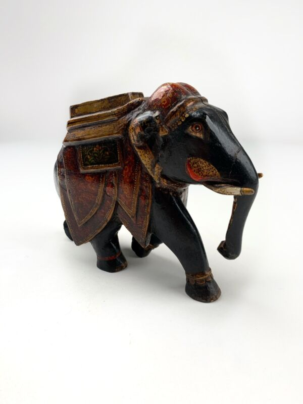 An Antique Hand Painted Indian Woodwn Elephant
