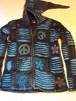 Mens Heavy  Festival hippy Hooded Top hoodie Mans Medium Festival top Fair Trade Heavy Hooded Top