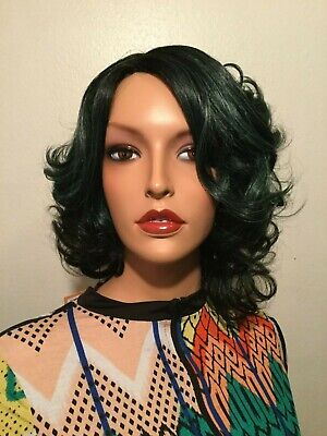 NWT It's A Wig Green and Black Real Hair Line Part Fashion Wig