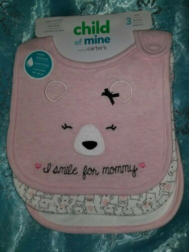 CHILD OF MINE BY CARTER DRIBBLER BIBS-3 PACK-PINK WITH BEARS-NEW