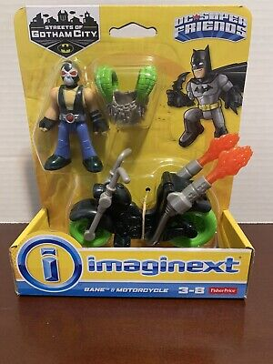 "Imaginext DC Super Friends Batman Streets of Gotham 3"" BANE figure & MOTORCYCLE!"