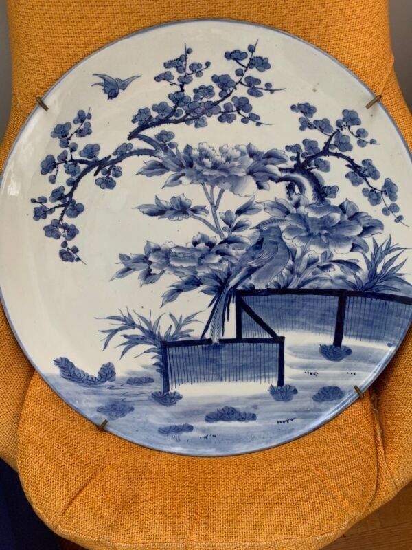 Magnificent Very Large Antique Japanese Imari Blue & White Hand Painted Charger