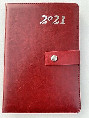 2021 Planner- 5x8 Daily Calendar Diary Hard Cover Appointment Book Red.