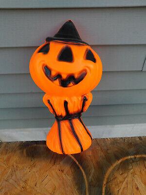 Vintage Empire 1969 Halloween Lighted Blowmold Pumpkin on a Haystack