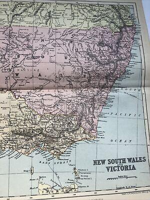 1899 : Map Of New South Wales & Victoria 122 Yrs Original Print Johnston Vintage