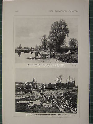 1915 Wwi Ww1 Print   Peasants Mending Nets Polish Stream   Poland War Time
