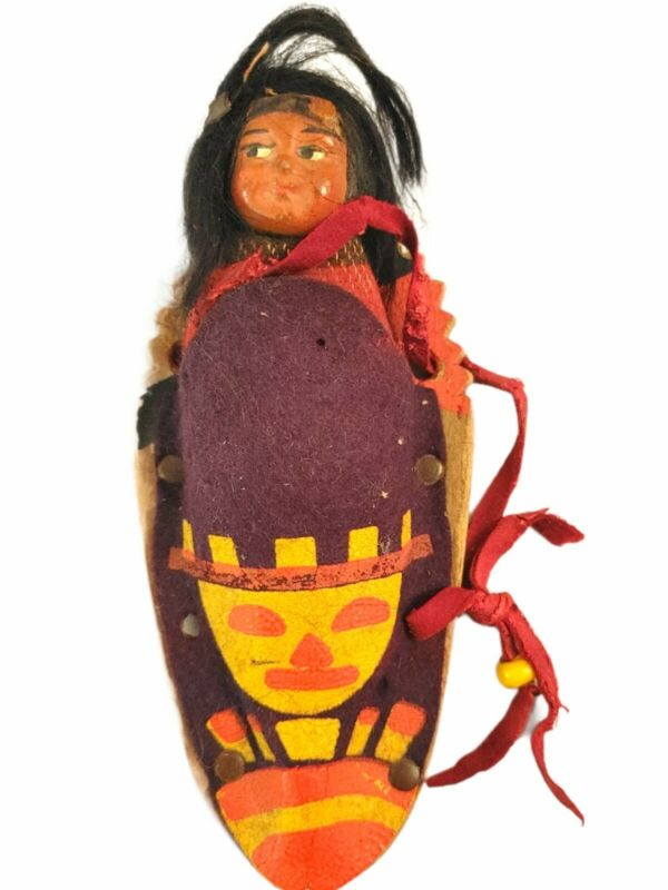 Antique Skookum Indian Doll- Baby on Papoose- Native American