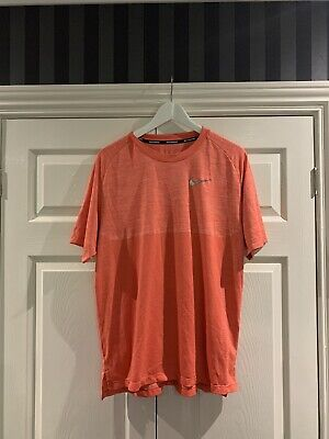 Nike Dri Fit Knit Tee - Orange - Large