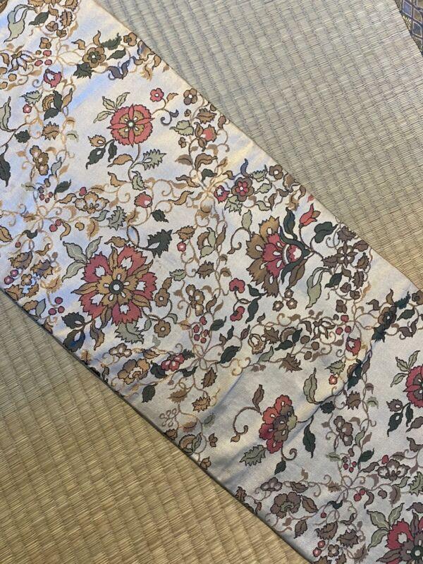 Vintage Japanese Nagoya Obi/  Light Brown Color / Flowers #673